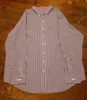 NEW IZOD Long Sleeve Cotton Plaid Red & White Shirt Men's Big & Tall Size 3XLT