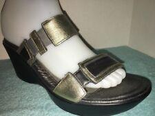 NAOT Metallic Gold & Gray Leather Slides Size 40 / US 9 ~ 9.5