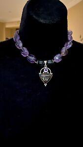 CHUNKY Vintage Sterling Silver Multi Gemstone Amethyst Necklace