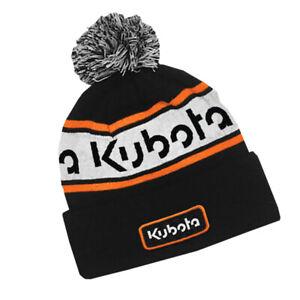 Kubota Branded Black/white/orange Knitted Winter Beanie with Pom Pom