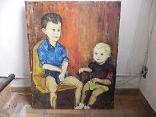 huile sur toile Portrait d enfants deux jeunes garçons deux frères signé