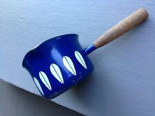 Vintage Cathrineholm Enamel Sauce Pot with Spout- Blue Lotus w/ Teak Handle