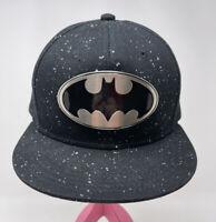 Batman DC Comics Hat Cap Metal Batman Logo Black White Flecks Snapback Men Woman