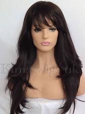FULL WOMEN LADIES FASHION HAIR WIG DARK BROWN HEAT RESIST LONG LAYERED  #4 UK