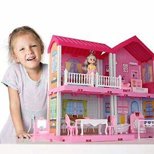 Dollhouse Dreamhouse Building Toys Figure w Furniture Accessories Casa De Muñeca