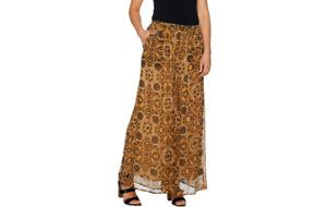 Du Jour Regular Printed Wide Leg Pants with Pockets Gold Size M A293726 QVC J
