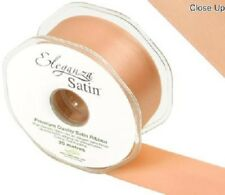 Eleganza Satin Double Sided Faced Quality Craft Ribbon Roll Reel Decoration Cake 50mm X 20m Peach