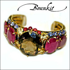 Ruby, Tanzanite & Citrine Cuff Bracelet by Bounkit