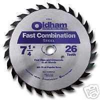 "B725C OLDHAM 7-1/4"" 26T FAST COMBO SAW BLADES QTY 4"