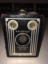 BROWNIE target six 20 antique kodak old box camera Made in Canada art deco black