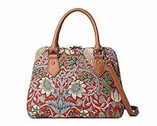 Signare Tapestry Handbag Shoulder Convertible Bag Strawberry Thief Red Design