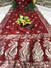 Banarasi Silk Saree Indian Designer Pakistani Woven Maroon Wedding Sari Blouse