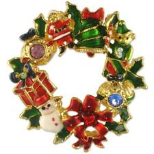 CRYSTAL CHRISTMAS WREATH BROOCH PENDANT PIN XMAS MADE WITH SWAROVSKI ELEMENTS