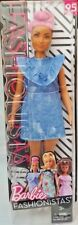 BARBIE Fashionistas 2018 Blue Jean Queen Curvy Doll #95 Shaved Hair Side Back