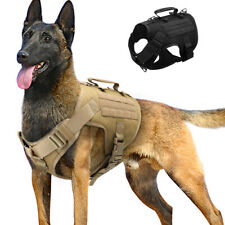 Tactical No Pull Dog Harness Military K9 Training MOLLE Vest Large Black Brown