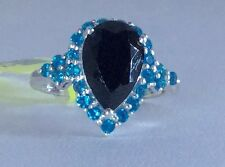 Sz 9 Thai Black Spinel & Neon Apatite Sterling Silver Ring TGW 5.32 cts Gorgeous
