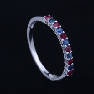 Round Engagement & Wedding Pave Ruby & Sapphire Ring Bands 14K White Gold
