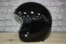 Moto Guzzi Open Face Jet Black Glitter Motorcycle Helmet