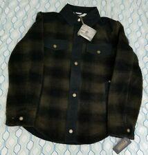 NEW Pendleton Flannel Shirt Jacket Buffalo Plaid Green Black Sherpa Fleece Small
