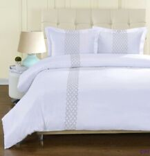 3-pc Full/Queen Hannah Microfiber Duvet Cover Set w/ Embroidered Gray Lines