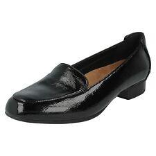 Clarks KEESHA LUCA Ladies Black Patent Slip-on Shoes D Fit (R38A) (Kett)