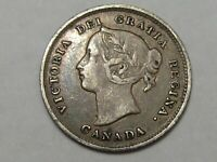 Better-Grade 1893 Silver Canadian 5 Cent Coin. Canada Victoria.  #64