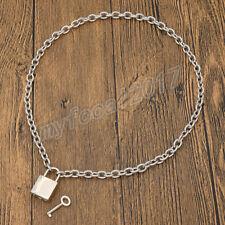 Men Women Chain Choker Punk Metal Necklace Square Lock Lockable Collar Necklace
