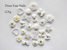 24*3d WHITE Nail Art  Set - Bows Flowers Roses Hearts Pearls Decoration CRAFT