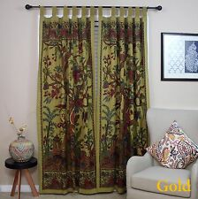 "Tree of Life Tab Top Cotton Curtain Drape Door Panel 44"" x 88"" Gold Brown"