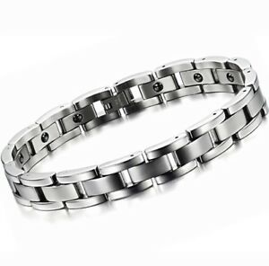 Titanium Steel Magnetic Bracelet For Men Natural Pain Relief Therapy UK Seller