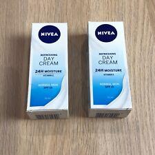 2x Nivea Refreshing Day Cream 24H Moisture Vitamin E Normal Skin SPF 15