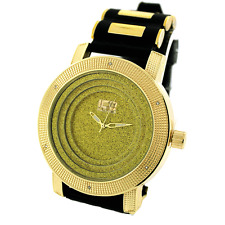 MENS ICED OUT HIP HOP GOLD ICE MASTER WATCH WITH BULLET BAND *NEW*