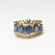 NISSKO Estate 14K Yellow Gold Five Natural Oval Blue Sapphire Ring 3.00 Cts