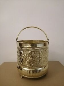 Bucket for Moroccan Bathroom Brass copper handmade authentic size medium Fez