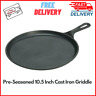 Pre-Seasoned 10.5 Inch Cast Iron Griddle with Easy-Grip Handle, Kitchen Cookware