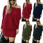 Women One Shoulder Bodycon Mini Dresses Jumper Pullover Dresses Tunic Long Tops