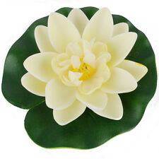 Milk White Artificial Water lily Floating Flower Lotus Home Yard Fish Tank Decor
