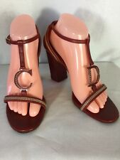 Christian Dior,Deep Red,T-Straps Chunky Block Heel Sandal Size 39