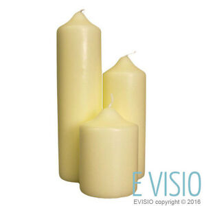 Church Pillar Candles Ivory Unscented Long Burn Time High Quality - Five Pack