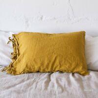 Linen pillow case flax TIES SHAM pure linen 100% linen stonewashed queen king