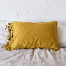 Linen pillow case flax TIES SHAM pure linen 100% linen stonewashed queen king