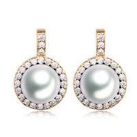 Luxury Yellow Gold Filled Stud Dangle Pearl Women Lady Banquet Wedding Earrings