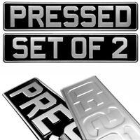 2x Black and Silver Pressed Number Plates Car Metal Classic Vintage UK Aluminium