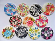 """6 pcs  Mixed  Extra Large Patterned Wood  Scrapbooking / Sewing Buttons  50mm 2"""""""