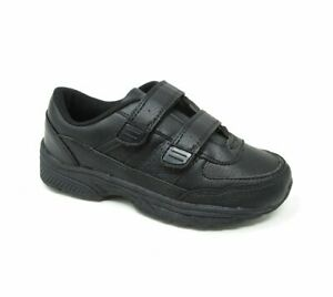 Boys Kids New BLACK Smart Casual Touch Strap School Sports Trainers Shoes Size