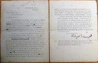 PERRY BELMONT Autograph & Joseph Pulitzer Correspondence, Campaign Funds TLS