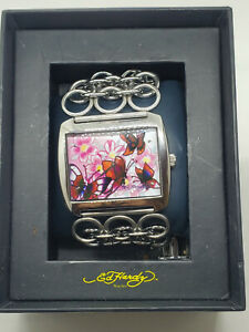 Ed Hardy butterfly 316L Stainless Steel LY-BF0374 Analog Ladies Watch Chain link