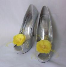Bright Yellow Blossom Flower Shoe Clips Clip Wedding Vintage Retro Pin Up Prom