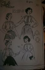 Vintage Style 1052 girl sewing pattern 40's  50s blouse school uniform shirt