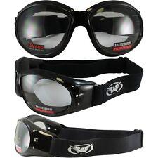 Eliminator Black Frame Motorcycle Goggles w/ Clear Shatterproof Anti-Fog Lenses